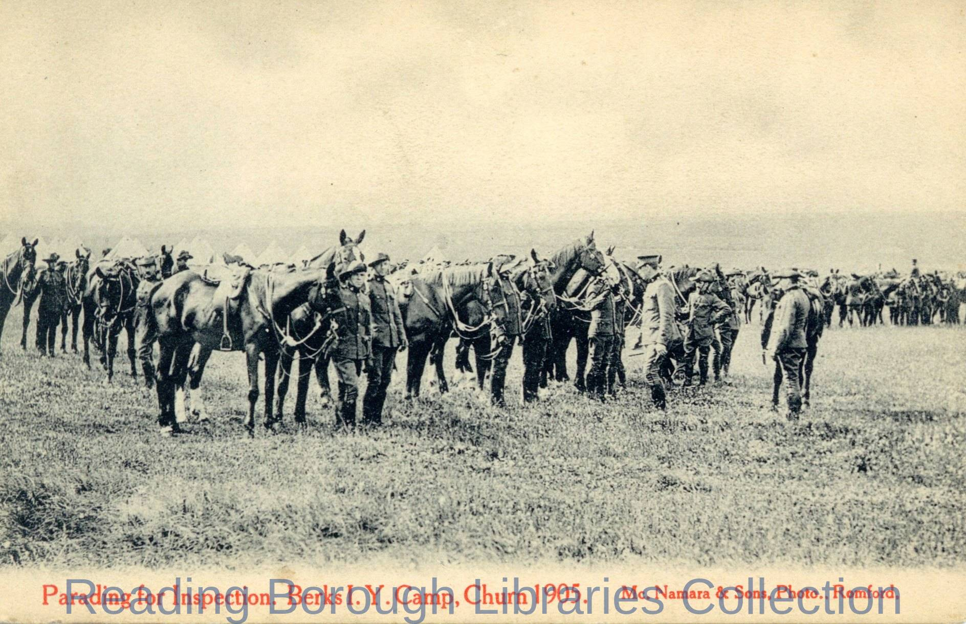Summer Training Camp; Parading for Inspection. Berks Imperial Yeomanry Camp, Churn, 1905.