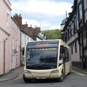 Bus displaying #staysafe message at Top Cross, Ledbury, 27 April 2020