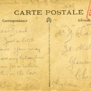 Lance Corporal Arthur Estwick Challenger (2629) - rear of postcard