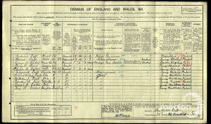 1911 Census for 28 East Road, Wimbledon