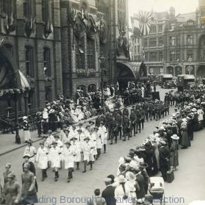 The Grand March Past passing the Town Hall, Peace celebrations in Reading, 1919.