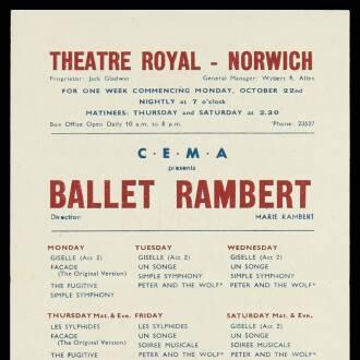 Theatre Royal, Norwich, October 1945
