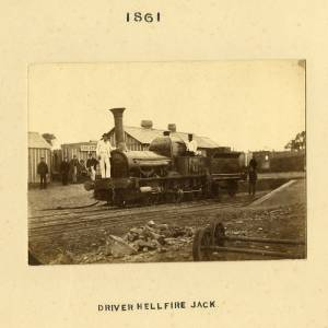 Driver Hellfire Jack steam engine, Great Malvern Station