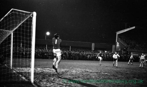A near miss for Hereford United v West Ham, Feb 1972.