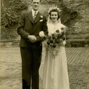 Charles Stanley Woodings and Gladys Louisa Woodings (nee Vaughan),, Wedding Day, 1st Sept 1945