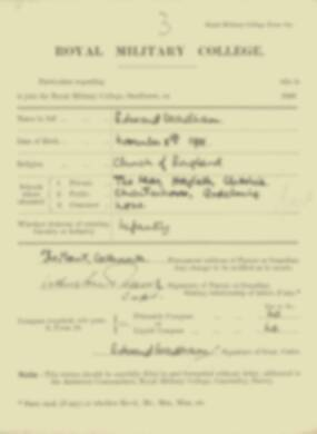 Edward Wadham -  RMC Form 18A Personal Detail Sheets Jan & Sept 1920 Intake