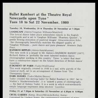 Theatre Royal, Newcastle upon Tyne, November 1980