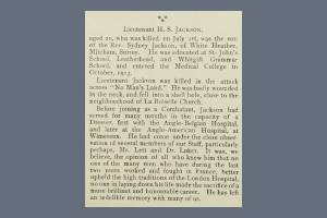 London Hospital Gazette 1917 Extract - Henry Stewart Jackson