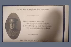 Memorial Card for Private Albert Frank Stopher