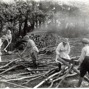 Women's Land Army sawing logs during the First World War, 1914-18
