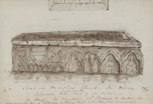 Tomb in Morthoe Church, 1844, North Devon