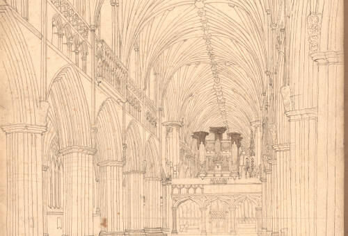 Exeter Cathedral Nave looking east, 1836, Exeter