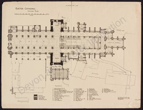 Ground Plan Exeter Cathedral, 1891, Exeter