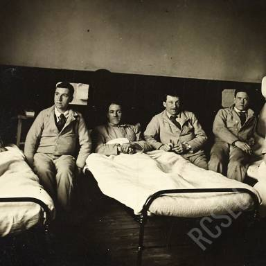 Nurses in Ward with Patients Coyle, Morgan, Sgt. Thomson, Taylor and Macintosh