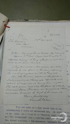 Letter to the War Office from the father of Raymond E Wilson
