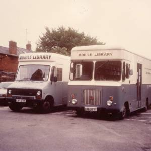 Black Mountain (l) and Hereford (r) mobile library vans
