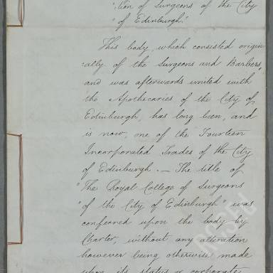 Brief Account of the Royal College and Corporation of Surgeons of Edinburgh (Part 1)