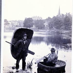 Coracle men on the River Wye, c1860
