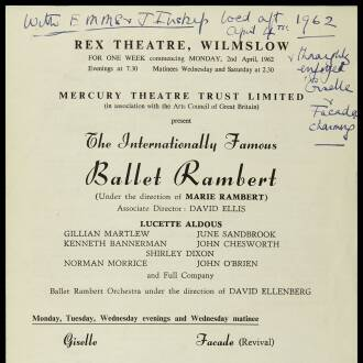 Rex Theatre, Wilmslow, April 1962