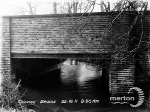 Coombe Bridge with Beverley Brook in flood