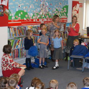 Jula Donaldson, Children's Laureate visits Leominster Library, Thursday 27 September 2012 - with children from Kimbolton School