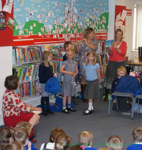 Jula Donaldson, Children's Laureate visits Leominster Library, Thursday 27 September 2012 - with children from Kimbolton School