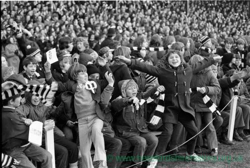 Young Hereford United fans celebrating at the Newcastle game, Feb 1972.