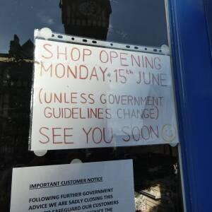 Westbury shoe repairs reopening notice, Ledbury