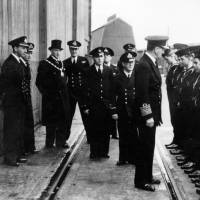 Admiral Sir Max Horton inspecting sea cadets, Bootle Docks, 1940s