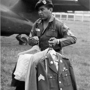 A U.S. Army aeroplane and soldier.