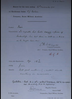 End of Term Reports for Individual Cadets (November 1914)