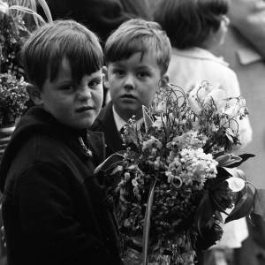Young boys taking part in the Fownhope Heart of Oak Club Walk,  May 1965