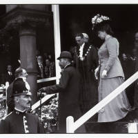 King George V, Queen Mary, and Lord Stanley in Southport for the opening of King's Gardens, 1913