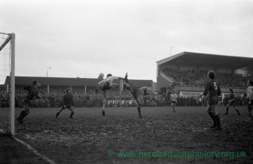 Action from Hereford United v Newcastle, Feb 1972.