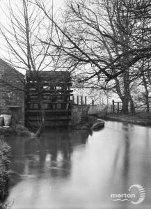 Liberty Print Works, Merton Abbey: View of the watermill