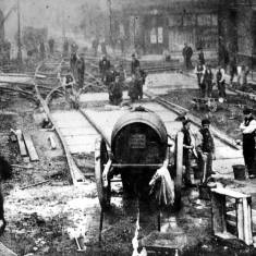Laying of electric tramway track at Laygate 1906