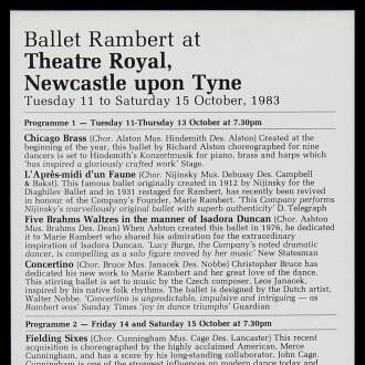 Theatre Royal, Newcastle upon Tyne, October 1983