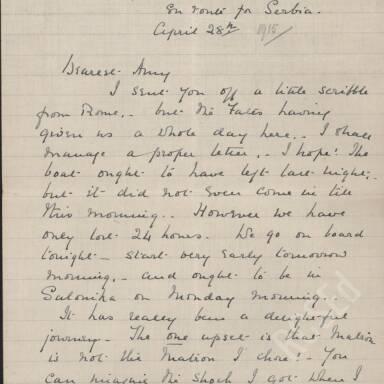 Elsie Inglis to Amy Inglis Simson - En Route to Serbia, April 1915 (Part 1)