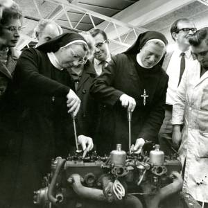 Two nuns demonstrate their mechanical skills