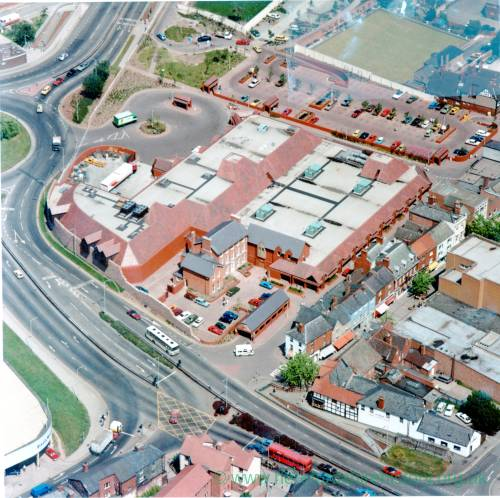 Bewell House and Tesco Supermarket, Hereford, aerial view c.1984