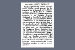 Newspaper Extract - Henry Stewart Jackson