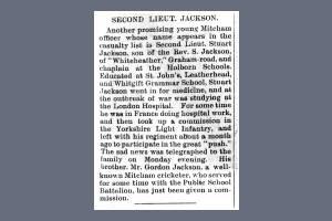 Newspaper Extract - Henry Stewart Jackson