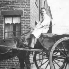Delivery Man and Horse Drawn Cart