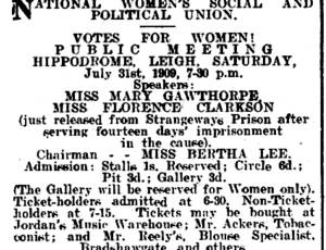 WSPU meeting, Leigh Chronicle 30.07.1909.jpg