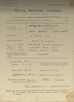 RMC Form 18A Personal Detail Sheets Feb & Aug 1923 Intake