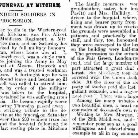 Newspaper Extract regarding the death of Albert Morgan