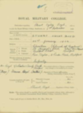 Stuart Boyd -  RMC Form 18A Personal Detail Sheets Jan & Sept 1920 Intake