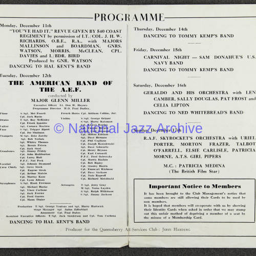 Glenn Miller and the American band of the A.E.F.  Queensbury All-Services Club December 1944 002