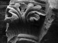 Carved foliage from the top of a Norman arch