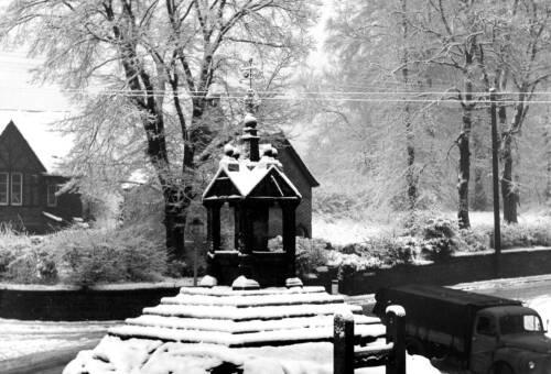 Lymm Cross in the snow, 1958